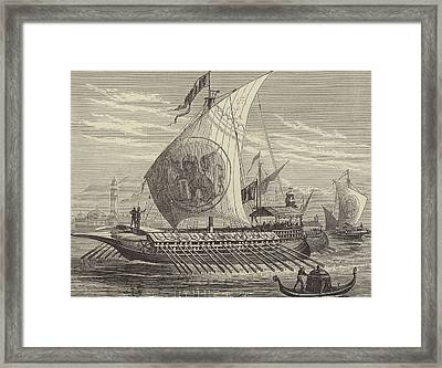 Venetian Galley Framed Print by English School
