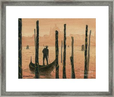 Venetian Gondolier In The Sunset Framed Print