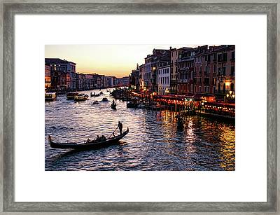 Venetian Impressions - Grand Canal Busy Traffic In Purple And Gold Framed Print by Georgia Mizuleva