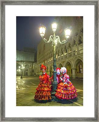 Venetian Ladies In San Marcos Square Framed Print
