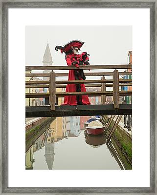 Venetian Lady On Bridge In Burano Framed Print