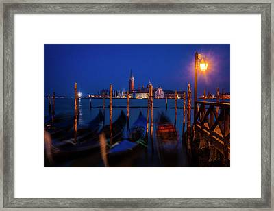 Framed Print featuring the photograph Venetian Lagoon At Twilight by Andrew Soundarajan
