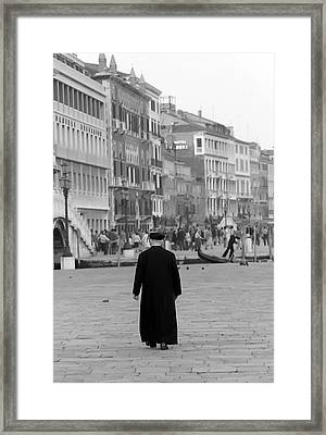 Venetian Priest And Gondola Framed Print