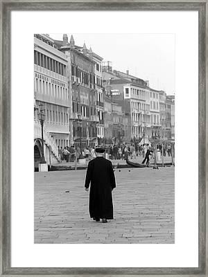 Venetian Priest And Gondola Framed Print by KG Thienemann