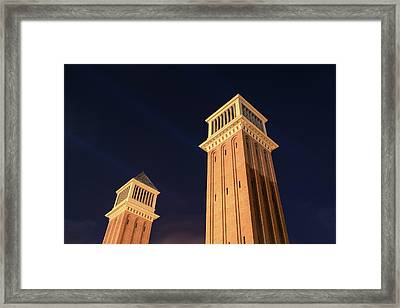 Venetian Towers Alias Torres Venecianes In Barcelona Framed Print