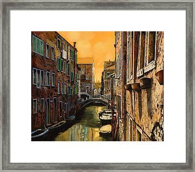 Venezia Al Tramonto Framed Print by Guido Borelli