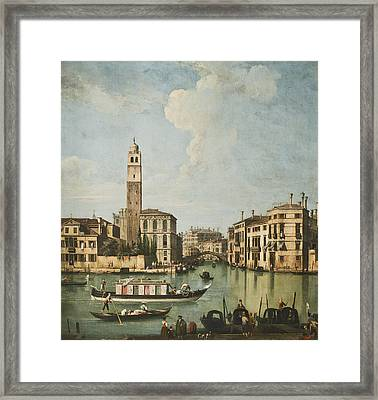 Venice A View Of The Canal Framed Print by Giovanni Battista