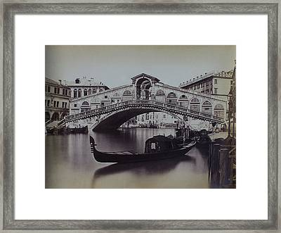 Venice #1 Antique Photo C1880 Grand Canal, Rialto Bridge And Gondola Framed Print