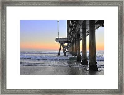 Venice Beach Pier Sunset Framed Print