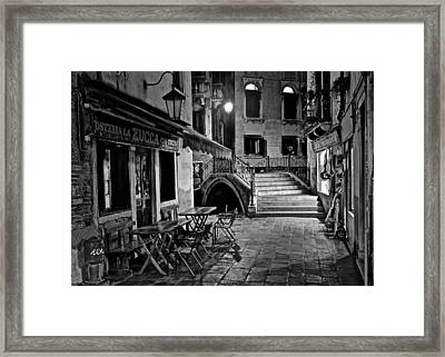 Venice Black And White Night Framed Print by Frozen in Time Fine Art Photography