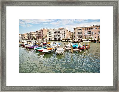 Framed Print featuring the photograph Venice Boats by Sharon Jones