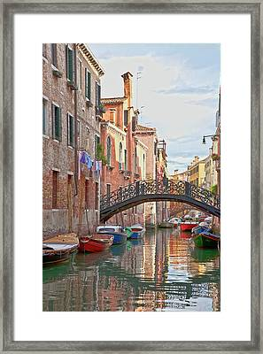 Venice Bridge Crossing 5 Framed Print by Heiko Koehrer-Wagner