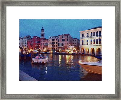 Framed Print featuring the photograph Venice By Night by Anne Kotan