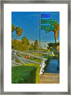 Framed Print featuring the photograph Venice Canal Bridge Signs by David Zanzinger