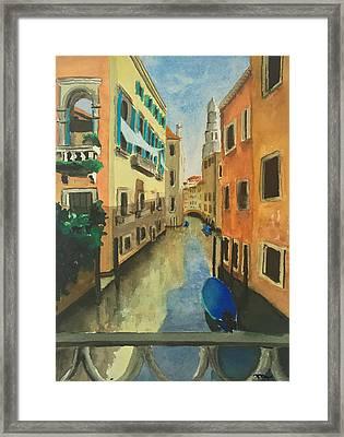 Venice Canal From A Bridge Framed Print