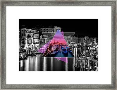 Venice Canal Grande And Gondolas At Sunset - Geometric Collage II Framed Print