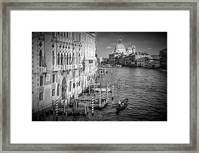Venice Canal Grande And Santa Maria Della Salute - Monochrome Framed Print by Melanie Viola
