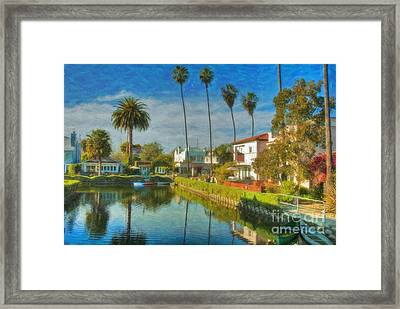 Framed Print featuring the photograph Venice Canal Houses Watercolor  by David Zanzinger