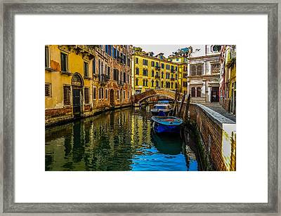 Venice Canal In Italy Framed Print by Marilyn Burton