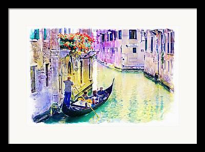 Gondola Mixed Media Framed Prints