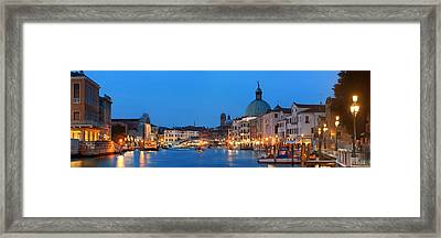 Framed Print featuring the photograph Venice Canal Night Panorama by Songquan Deng