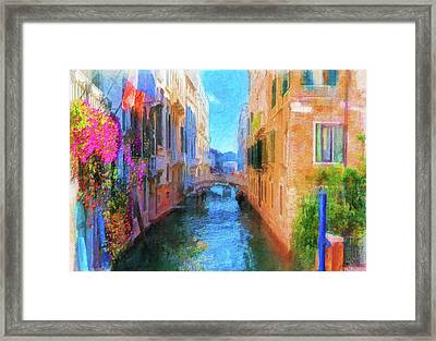 Venice Canal Painting Framed Print
