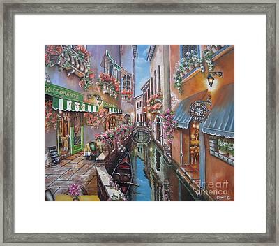 Venice Canal Reflections Framed Print by Elizabeth Gomez