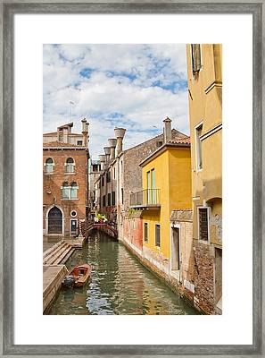 Framed Print featuring the photograph Venice Canal by Sharon Jones