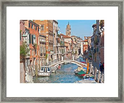 Venice Canaletto Bridging Framed Print by Heiko Koehrer-Wagner
