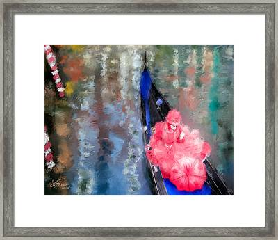 Venice Carnival. Masked Woman In A Gondola Framed Print