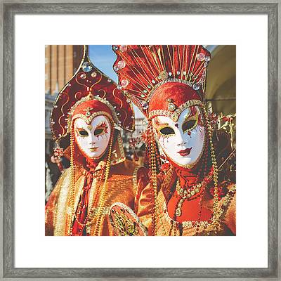Venice Carnival - Masks And Costumes Framed Print by Asgeir Pedersen