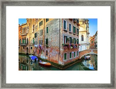 Venice Corner House Framed Print by Inge Johnsson