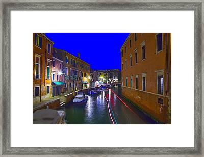 Venice  Dorsoduro By Night Framed Print by Jean-luc Bohin