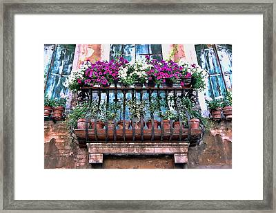 Framed Print featuring the photograph Venice Flower Balcony by Allen Beatty