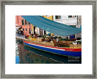 Venice Fresh Market Boat Framed Print