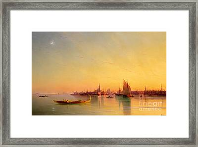 Venice From The Lagoon At Sunset Framed Print by Ivan Konstantinovich Aivazovsky