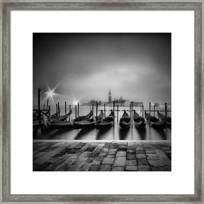 Venice Gondolas On A Foggy Morning Monochrome Framed Print