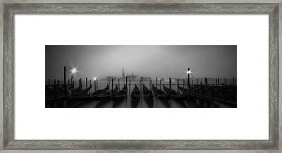 Venice Gondolas On A Foggy Morning Panoramic View Framed Print by Melanie Viola