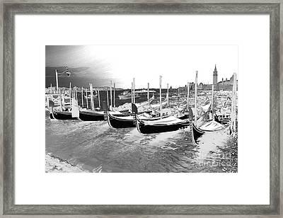 Venice Gondolas Silver Framed Print
