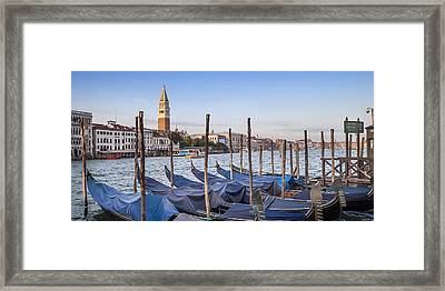 Venice Grand Canal And Goldolas Panoramic View Framed Print by Melanie Viola
