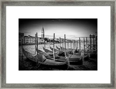 Venice Grand Canal And St Mark's Campanile - Monochrome Framed Print by Melanie Viola