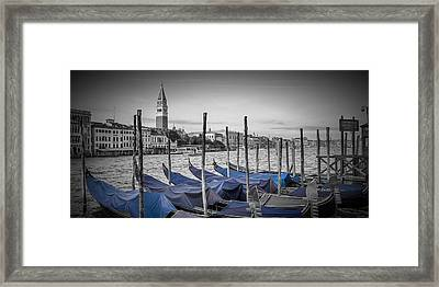 Venice Grand Canal And St Mark's Campanile Panoramic View Framed Print by Melanie Viola