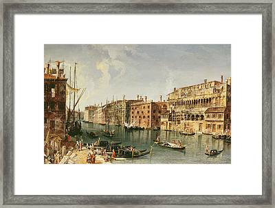Venice, Grand Canal And The Fondaco Dei Turchi  Framed Print