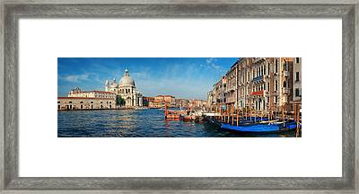 Framed Print featuring the photograph Venice Grand Canal Boat by Songquan Deng