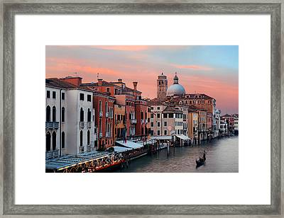 Framed Print featuring the photograph Venice Grand Canal Gondola by Songquan Deng