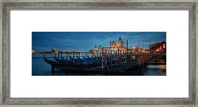 Framed Print featuring the photograph Venice Grand Canal Viewed At Night by Songquan Deng
