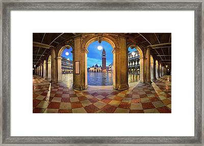 Framed Print featuring the photograph Venice Hallway by Songquan Deng