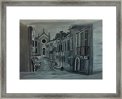 Framed Print featuring the painting Venice In Grey And White by Rod Jellison