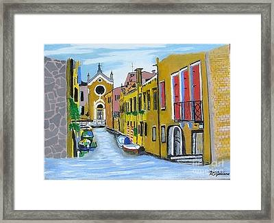 Framed Print featuring the painting Venice In September by Rod Jellison