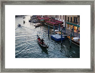 Venice Italy - A Classic Evening On The Grand Canal  Framed Print by Georgia Mizuleva